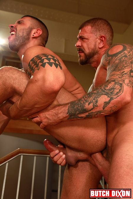 Hung Daddy fucking a Latino muscle bear from behind.