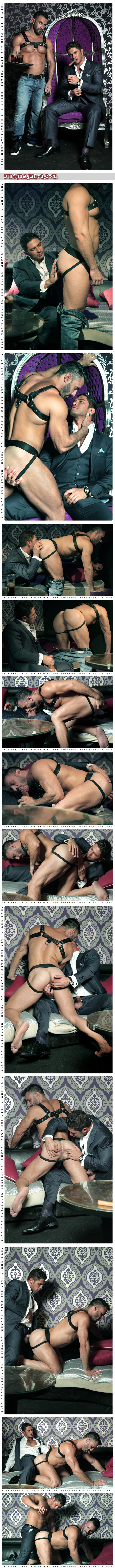 Muscle servant in leather bottoms for his businessman Master.