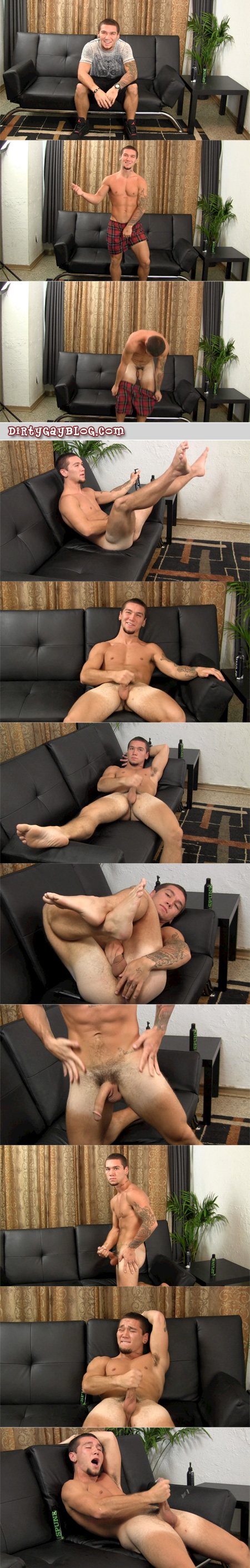 Short wrestler with tan lines cums on his thick, muscular legs.