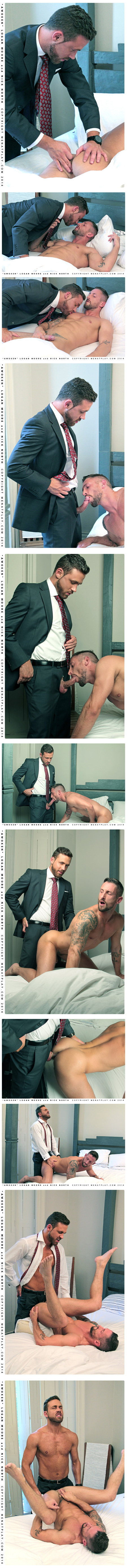 Bearded businessman gropes a blonde muscle guy while he sleeps and fucks him doggy style when he wakes him up.