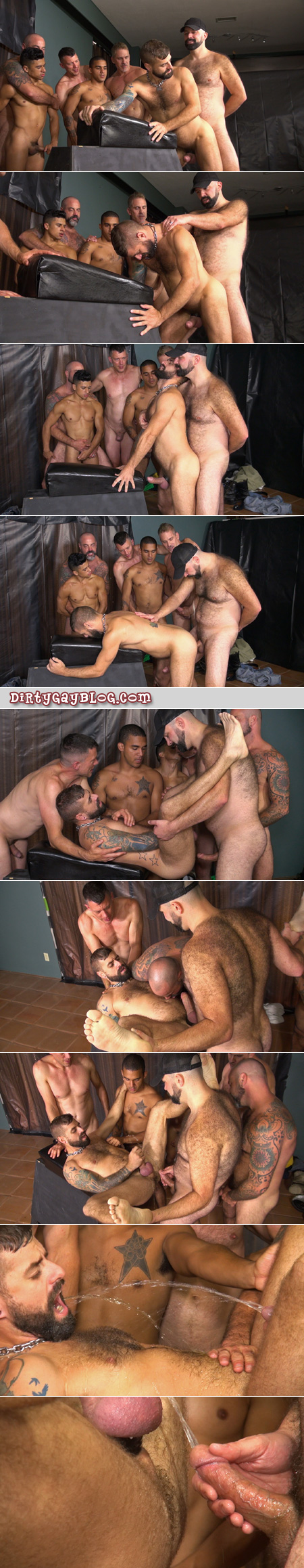 Hairy guys fucking and pissing while a group of naked men watches.