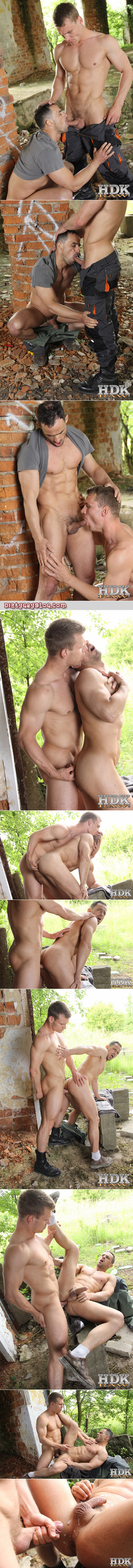 Smooth muscle men fucking bareback outdoors.
