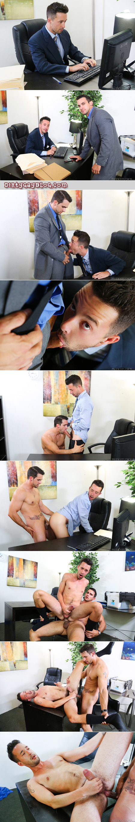 Young men in suits having clandestine gay sex at the office.