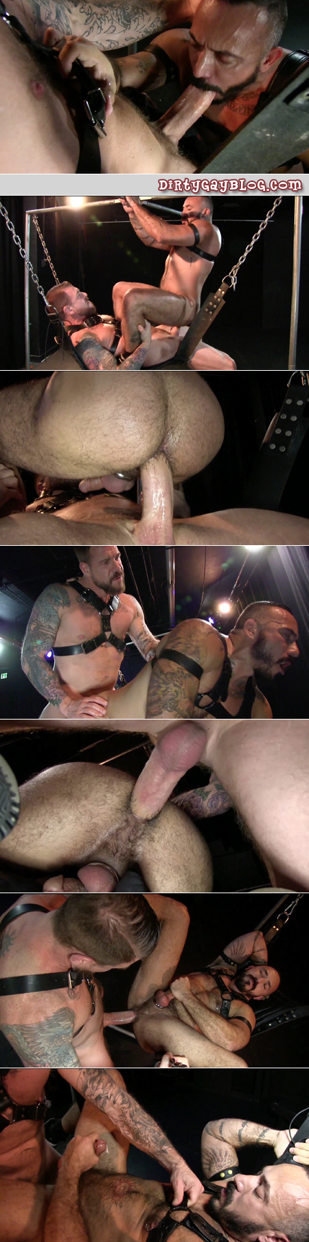 Hairy, hung leatherman fucking another beefy, furry guy with his huge penis.