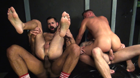 Two gay couples fucking bareback side-by-side.