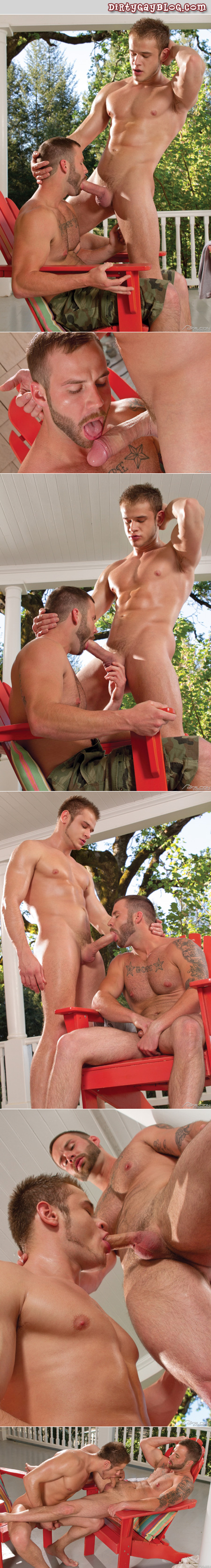 Handsome, tattooed guy sucking a blonde guy's big uncut cock on the front porch.