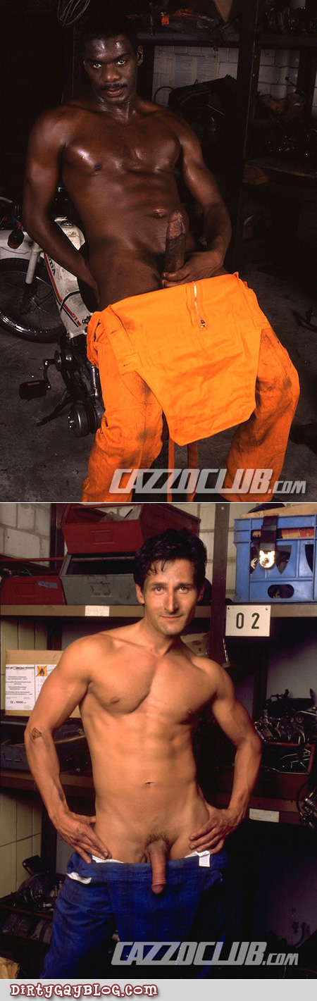 Black and Italian car mechanics naked under their coveralls.