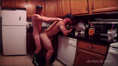 Horny otter bears shooting an amateur video of them fucking bareback in the kitchen on their first date.