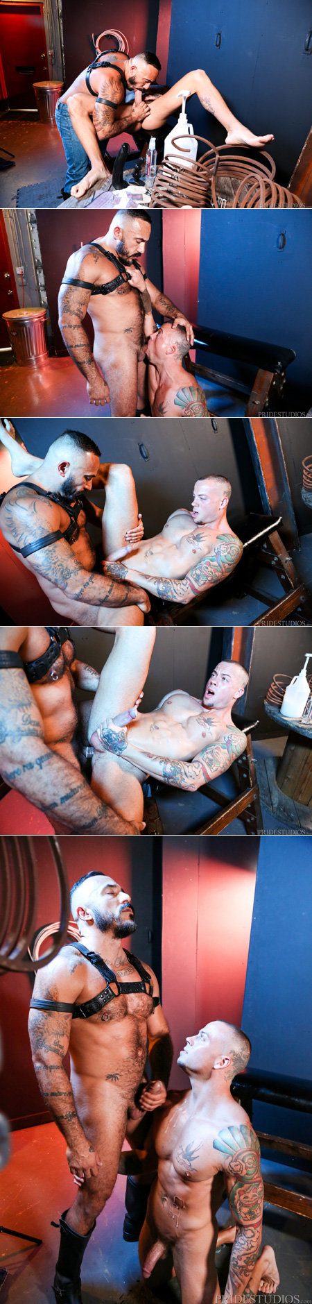 Tattooed muscle bottom taking progressively bigger toys in his ass until his Daddy fucks the cum out of him.