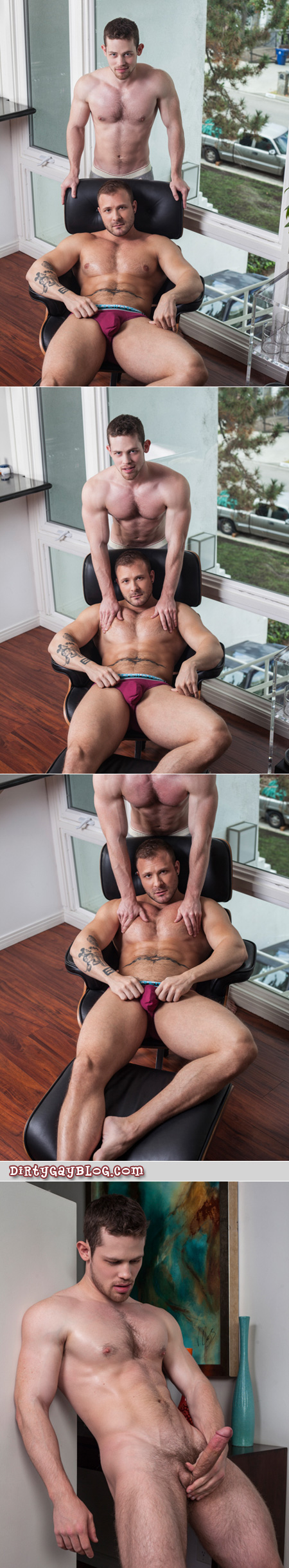 Two muscular tops flip-fuck together for the first time.