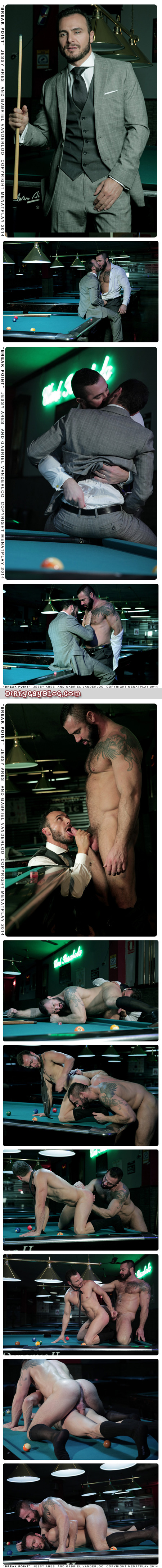 Hairy, muscular men in suits making out after a game of pool.