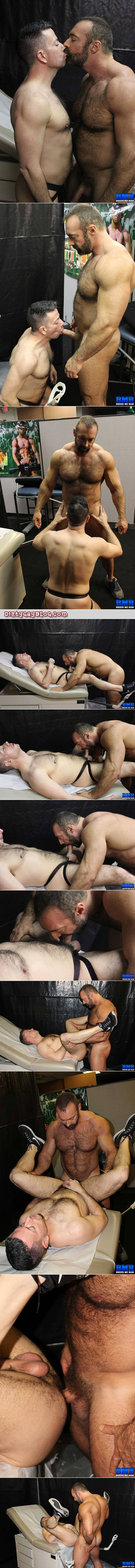 Beefy Daddy bear fucking a guy on a doctor's examination table.