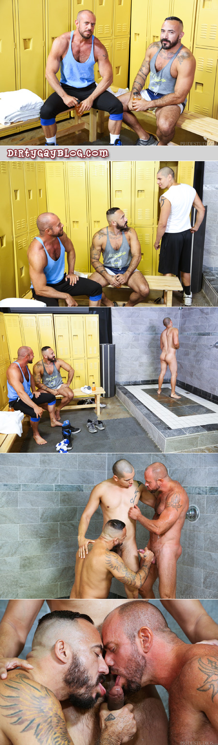 Guys checking each other out and fooling around in the lockerroom showers.