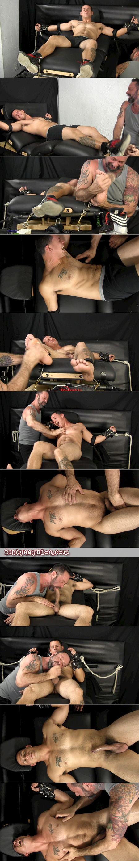 Hung Latino straight guy is bound and tickle tortured naked before getting a blowjob from another guy.