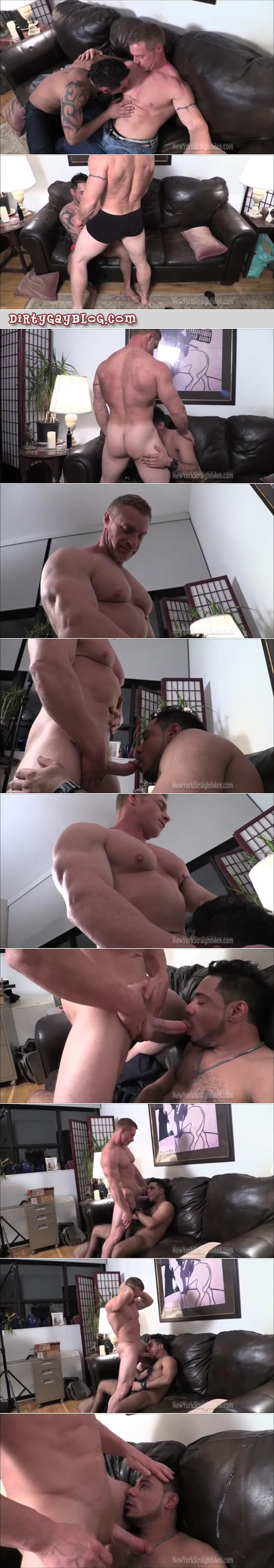 Straight redheaded bodybuilder getting his dick sucked by another guy.