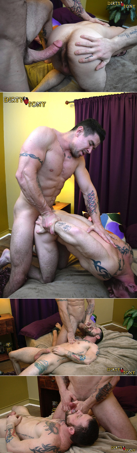Hung muscle dude fucking another inked Daddy in the butt and feeding him his cum.
