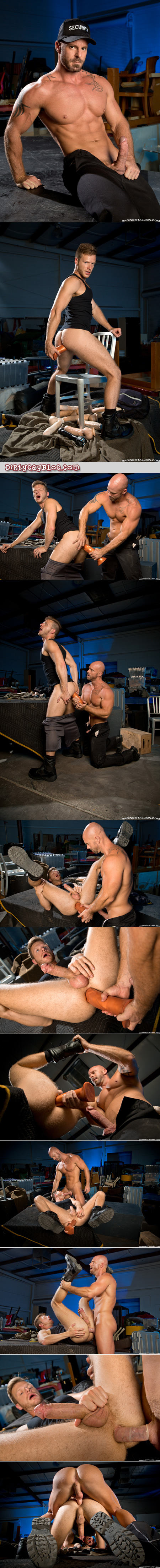Hairy blonde thief caught stealing dildos is punished by a hung, muscular security guard with a beard.