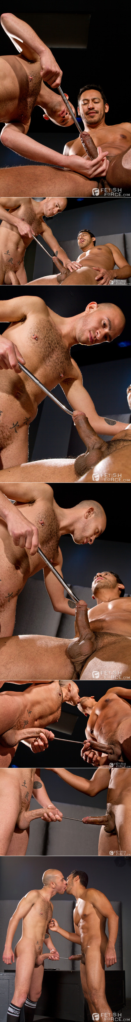 Hardcore gay men linking their cocks together with urethral sounds.
