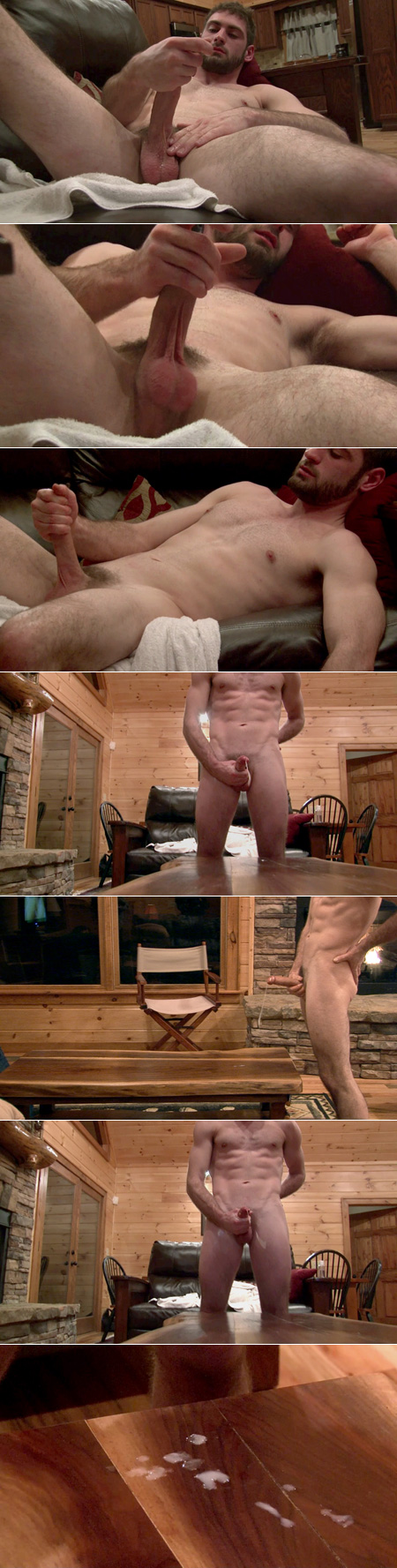 Fit straight guy shooting his load on a wood table in a mountain cabin.