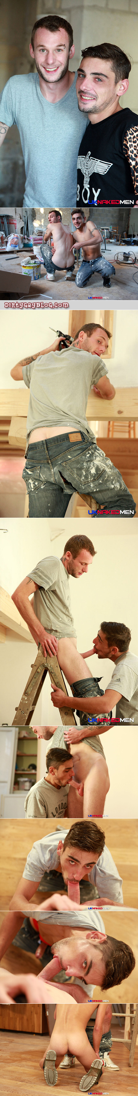 Horny young painter checks out his coworker's butt through his ripped jeans.