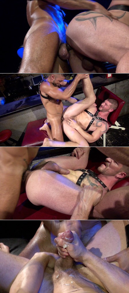 Leathermen fucking bareback and cumming.