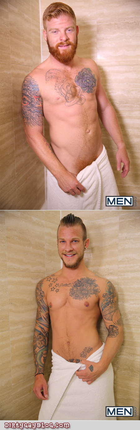 Two blonde and redhead guys with tattoos wearing nothing but bath towels.