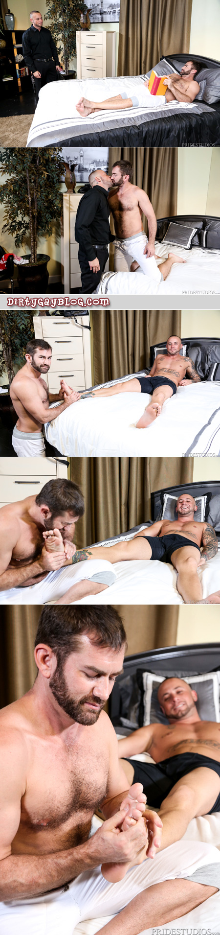 Bearded cub gives a businessman a foot massage.