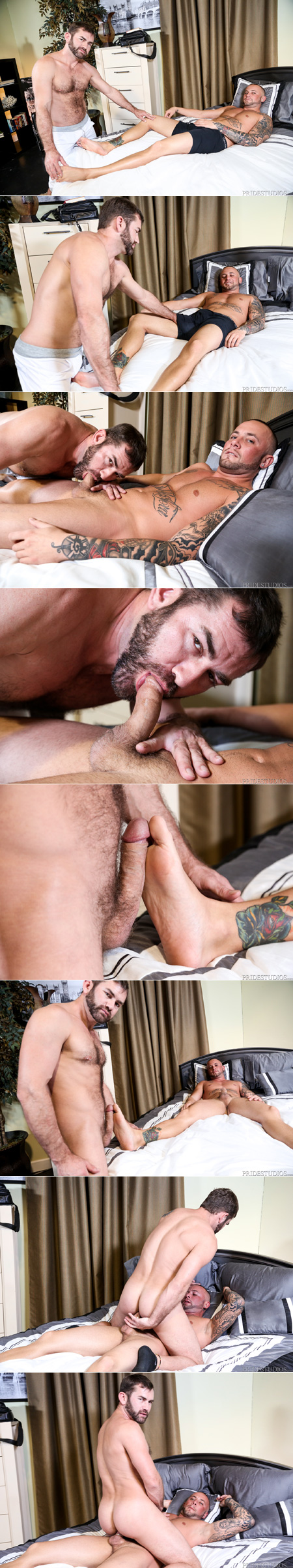 Bear cub gives another man an erection by rubbing his feet, then mounts him for gay anal sex.
