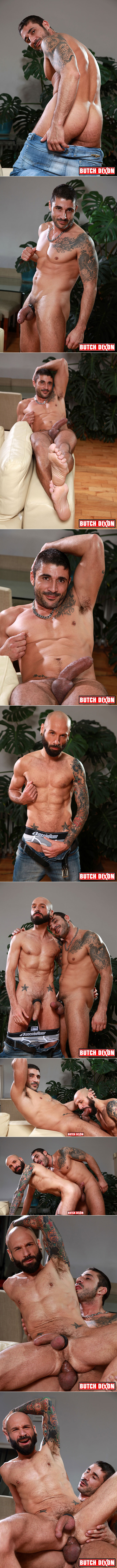 Well-hung Spaniard fucking a horny tattooed Frenchman bareback.