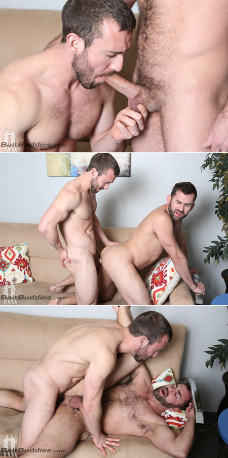Straight muscle man fucking another guy in the ass.