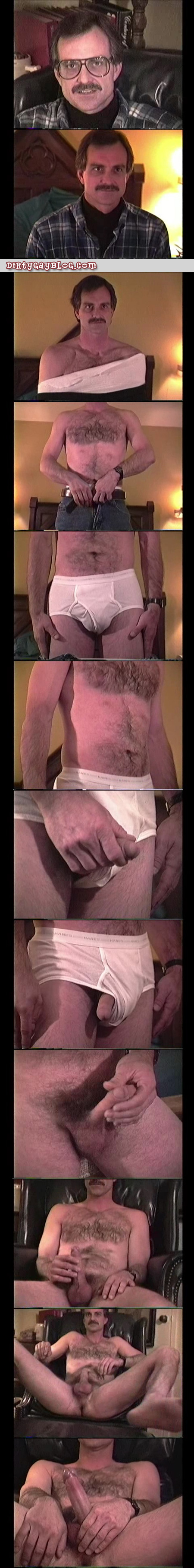 Hairy Daddy in his white BVD's and nude with an erection.