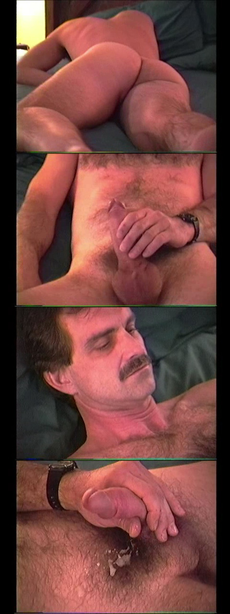 Hairy Daddy with a mustache jerking off to completion.