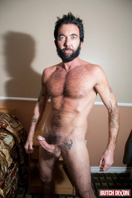 Fit, hairy, blue-eyed Daddy shows off his rock hard erection.
