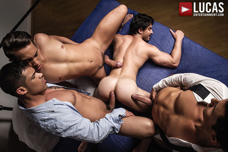Bareback Latino orgy with three guys fucking one bottom raw.