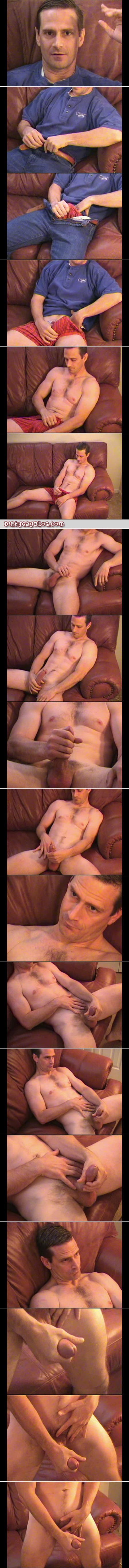Muscular DILF with a boner in his boxers masturbating on the couch.