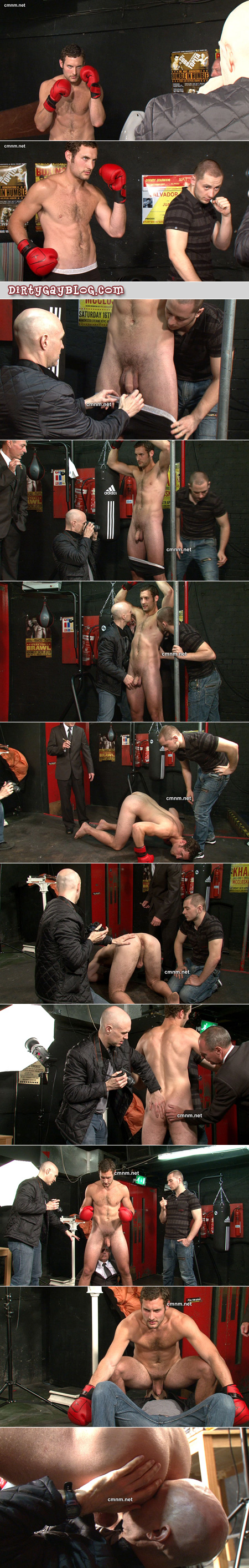 Straight male boxer stripped by three older men in suits.