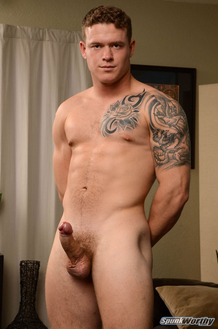 Young ginger bear posing nude with an erection.