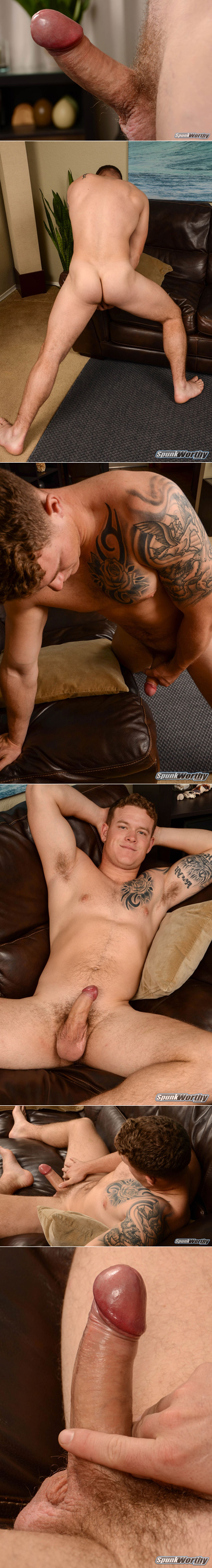 Tattooed ginger bear with a swollen hard dick.