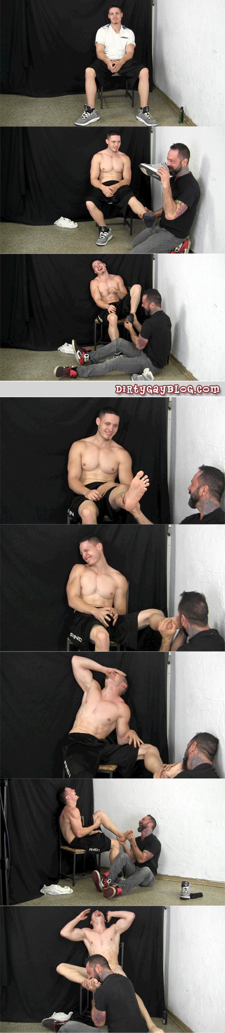 Straight muscle hunk obeys Daddy tickling his feet.