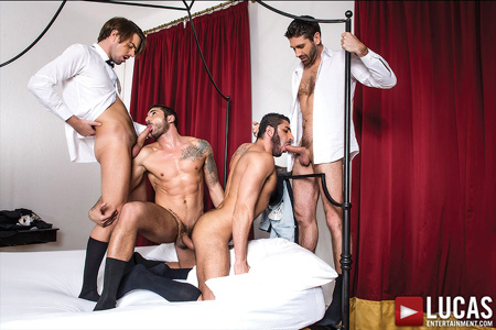 Horny businessmen sucking each other's cocks.