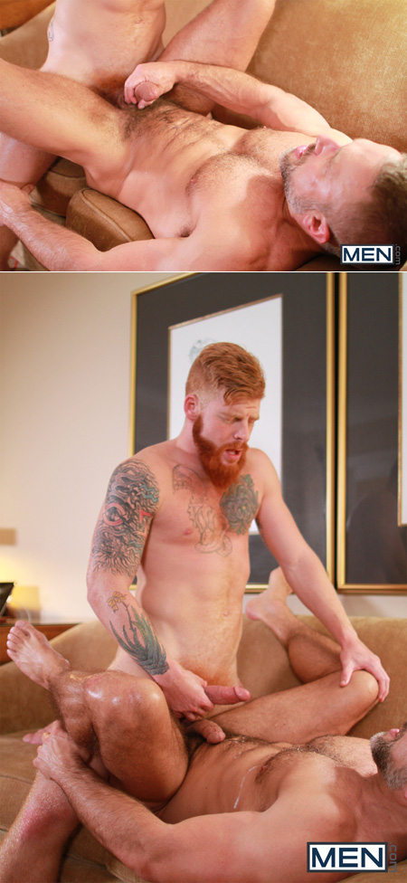 Muscular ginger and the hairy Daddy he's fucking shooting their huge loads of cum.
