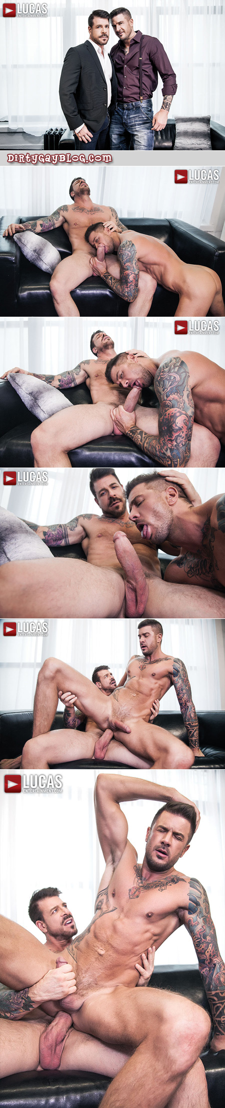 Inked muscle men with huge cocks