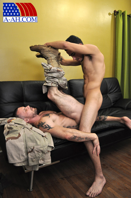 Army Sergeant on his back getting fucked with his fatigues pulled down and his boots still on.