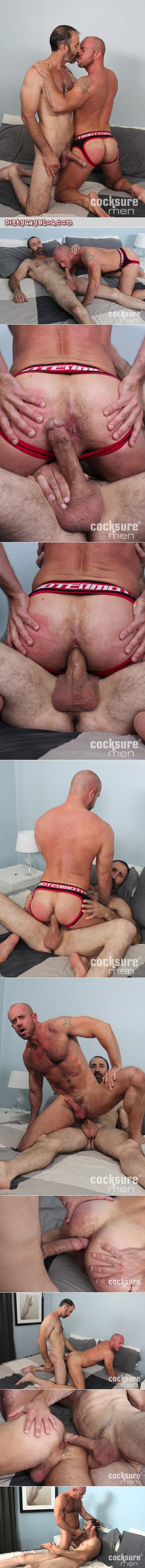 Slender hairy Daddy barebacks his bottom boi in a jockstrap.