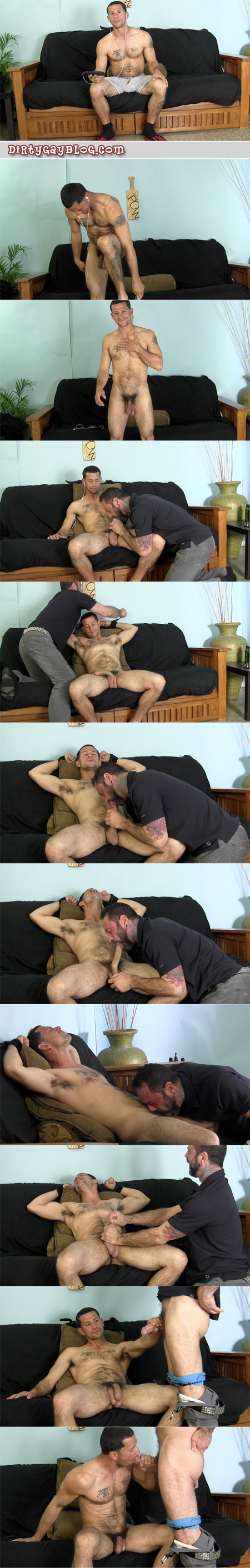 Hung uncut straight guy bound and milked before sucking dick for the first time.