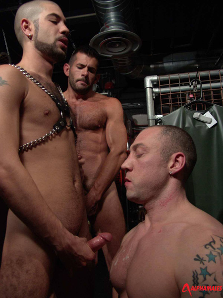 Cumming on another guy's chest at a gay bar while a muscle man jacks off watching.
