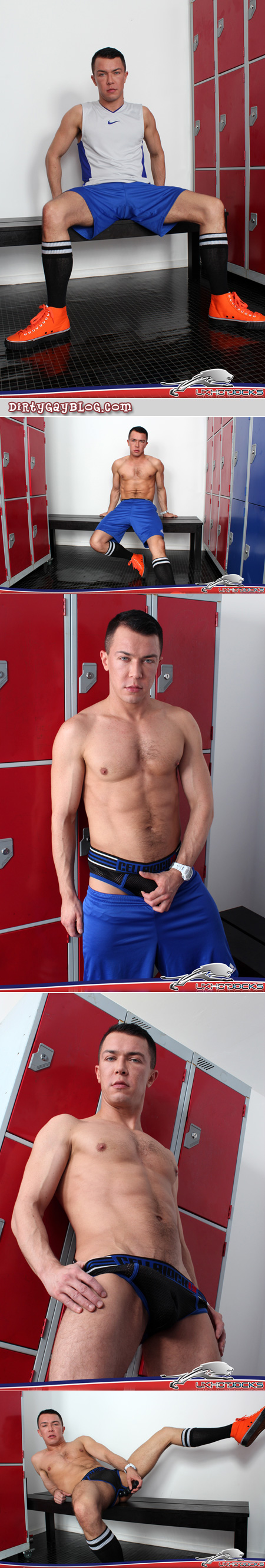 Compact muscle man stripping to his jockstrap in the locker room.