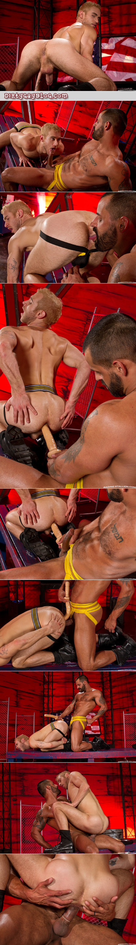 Muscular adonis fucks a scruffy blonde bottom with his huge cock and a big dildo at the same time.