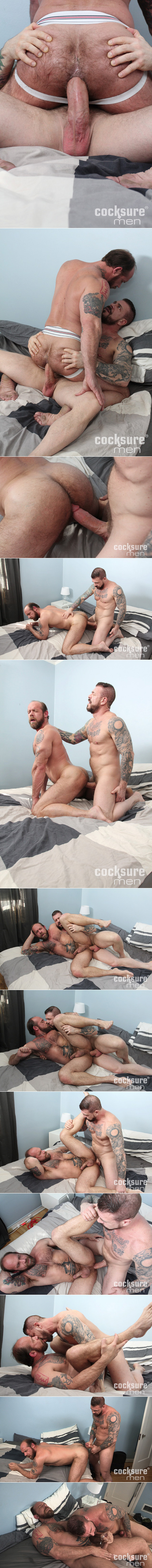 Tattooed muscle Daddies fucking bareback.