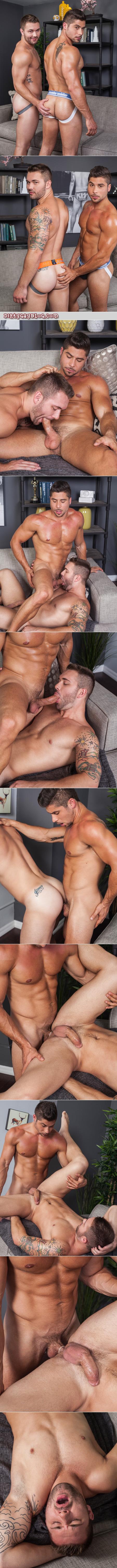 Straight Italian muscle hunk fucking a stocky muscular bottom.
